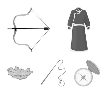 Mongolia set collection icons in monochrome style vector symbol stock illustration web.