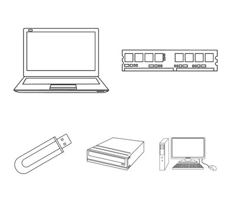 Flash drive, laptop, memory card.Personal computer set collection icons in outline style vector symbol stock illustration . Illustration