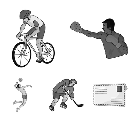 Cycling, boxing, ice hockey, volleyball.Olympic sport set collection icons in monochrome style vector symbol stock illustration . Illustration
