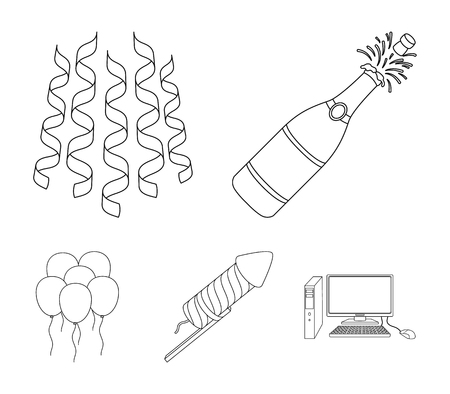 Champagne, fireworks and other accessories at the party.Party and partits set collection icons in outline style vector symbol stock illustration .