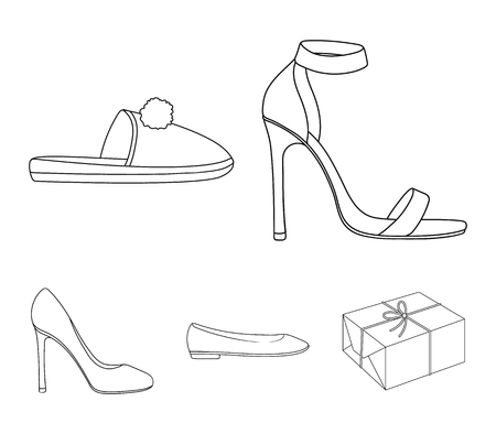 Blue high-heeled sandals, homemade lilac slippers with a pampon, pink womens ballet flats, brown high-heeled shoes. Shoes set collection icons in outline style vector symbol stock illustration web. Illustration
