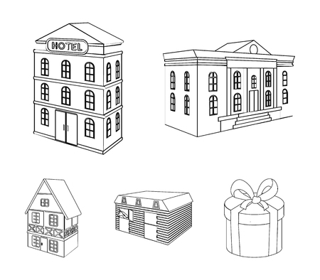 Architectural building set collection icons in outline style vector symbol stock illustration web. 向量圖像