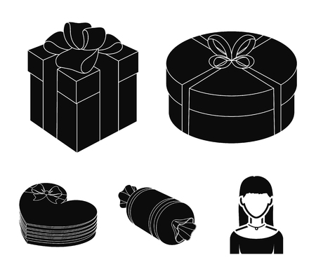 Gifts and certificates set collection icons in black style vector symbol stock illustration web.