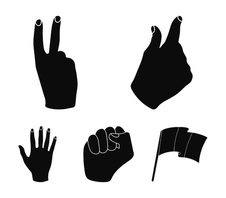 Hand gesture set collection icons in black style vector symbol stock illustration web.