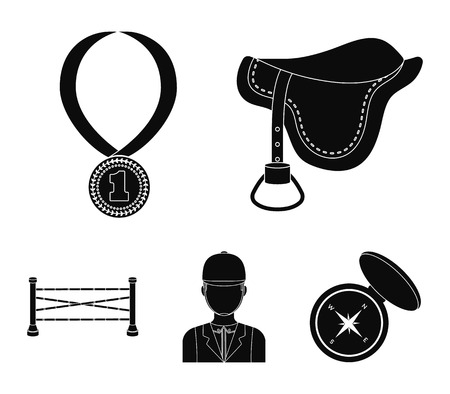 Hippodrome and horse set collection icons in black style vector symbol stock illustration web. 向量圖像