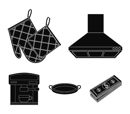 Kitchen and accessories vector symbol stock web illustration.