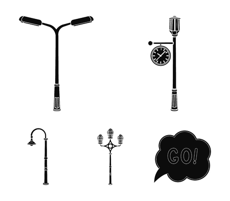 Lamppost set collection icons in black style vector symbol stock illustration web. Çizim