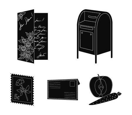 Mailbox, congratulatory card, postage stamp, envelope. Mail and postman set collection icons in black style vector symbol stock illustration Illustration