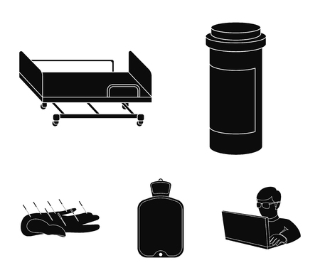 Medicine set collection icons in black style vector symbol stock illustration web.