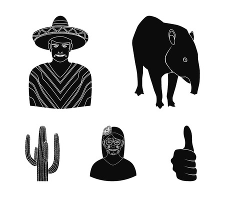 Mexico country set collection icons in black style vector symbol stock illustration web. Illustration