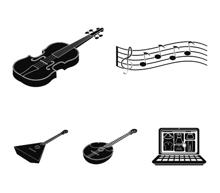 String and Wind instrument isometric vector symbol stock web illustration.