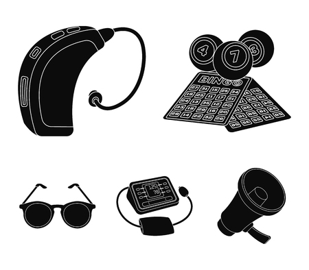 Lottery, hearing aid, tonometer, glasses.Old age set collection icons in black style vector symbol stock illustration . Ilustrace