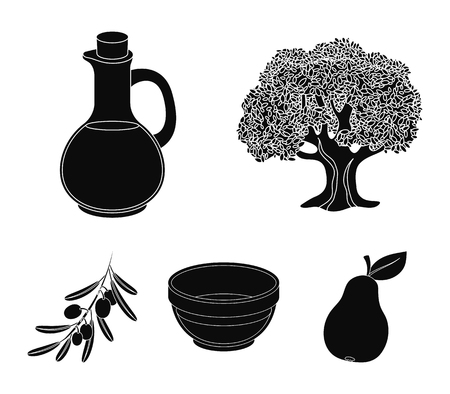 Olives set collection icons in black style vector symbol stock illustration web.