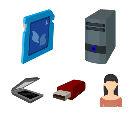 A system unit, a flash drive, a scanner and a SD card. Personal computer set collection icons in cartoon style vector symbol stock illustration