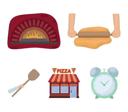 Pizza dough, oven, pizzeria building, spatula for billets. Pizza and pizzeria set collection icons in cartoon style vector symbol stock illustration web. Illustration