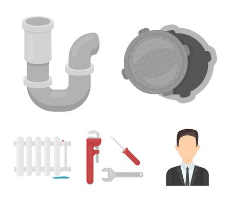 Sewage hatch, tool, radiator.Plumbing set collection icons in cartoon style vector symbol stock illustration web.