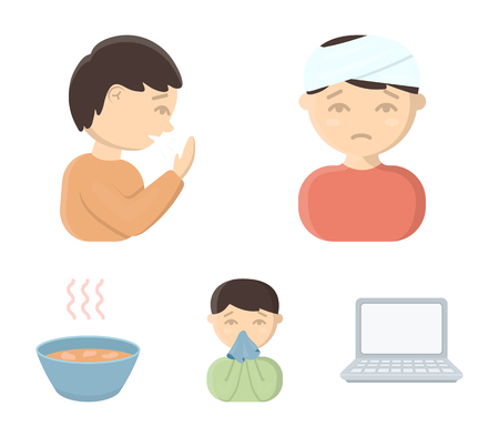 A man with a bandaged head, a man coughing, a man snorts a snot, a bowl, a bowl of hot broth into a handkerchief. Sick set collection icons in cartoon style vector symbol stock illustration web.