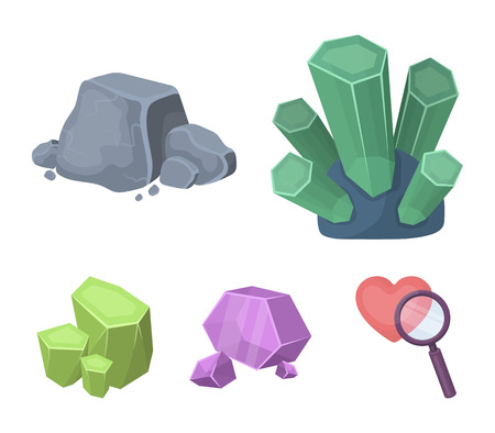 Crystals, iron ore. Precious minerals and a jeweler set collection icons in cartoon style vector symbol stock illustration web.