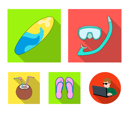 Diving, surfing, cocktail.Summer vacation set collection icons in flat style vector symbol stock illustration web.