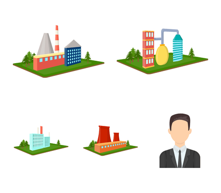 Processing factory,metallurgical plant. Factory and industry set collection icons in cartoon style isometric vector symbol stock illustration web.