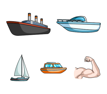 Protection boat, lifeboat, cargo steamer, sports yacht.Ships and water transport set collection icons in cartoon style vector symbol stock illustration web. Illustration