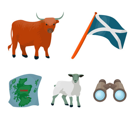 The state flag of Andreev, Scotland, the bull, the sheep, the map of Scotland. Scotland set collection icons in cartoon style vector symbol stock illustration web.