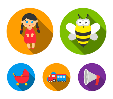 Bee, doll, train and stroller. Toys set collection icons in flat style vector symbol stock illustration web.