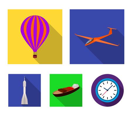 Un drone, un planeur, un ballon, une barge de transport, une fusée spatiale modes de transport. Icônes de collection de jeu de transport dans le style plat vecteur symbole stock illustration web. Banque d'images - 96274331