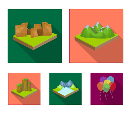 Mountains, rocks and landscape. Relief and mountains set collection icons in flat style isometric vector symbol stock illustration web. Illusztráció