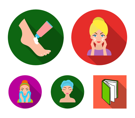 Face care, plastic surgery, face wiping, moisturizing the feet. Skin Care set collection icons in flat style vector symbol stock illustration web.