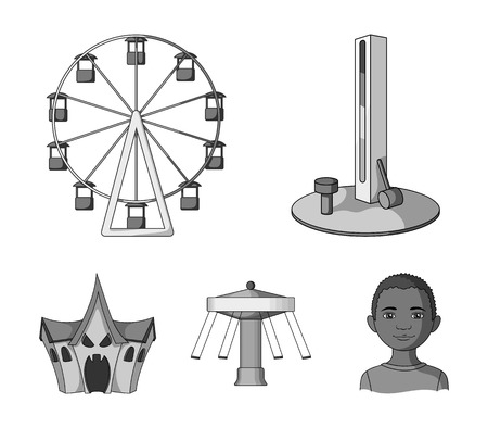 The device with a bat for measuring strength, a ferris wheel, a carousel, a house with windows. Amusement park set collection icons in monochrome style vector symbol stock illustration web. Stock Illustratie