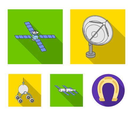 Radio radar, docking in space spacecraft, Lunokhod. Space technology set collection icons in flat style vector symbol stock illustration web.