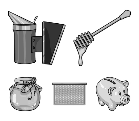 A frame with honeycombs, a ladle of honey, a fumigator from bees, a jar of honey. Apiary set collection icons in monochrome style vector symbol stock illustration web. Illustration