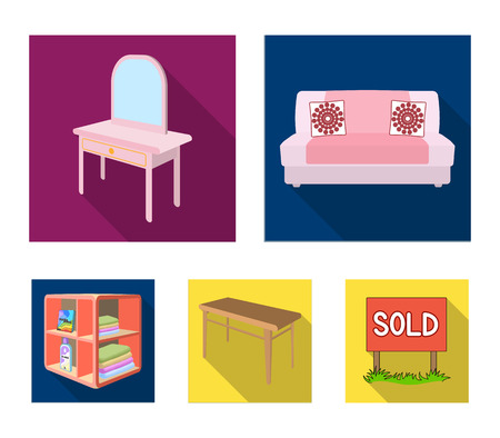Soft sofa, toilet make-up table, dining table, shelving for laundry and detergent. Furniture and interior set collection icons in flat style isometric vector symbol stock illustration web.