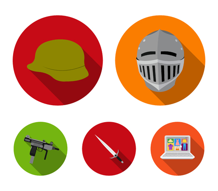 A helmet of a medieval knight, a soldiers helmet, a sword, an automaton uzi. Weapons set collection icons in flat style vector symbol stock illustration web. Stock Illustratie