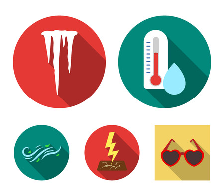 Humidity, icicles, thunderbolt, windy weather. Weather set collection icons in flat style vector symbol stock illustration web.