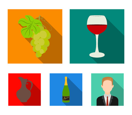 A glass of red wine, champagne, a jug of wine, a bunch. Wine production set collection icons in flat style vector symbol stock illustration web. Illustration