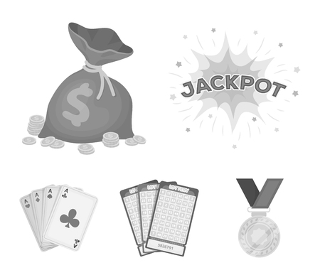 Jack sweat, a bag with money won, cards for playing Bingo, playing cards. Casino and gambling set collection icons in monochrome style vector symbol stock illustration web.