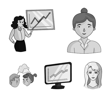 Businesswoman, growth charts, brainstorming.Business-conference and negotiations set collection icons in monochrome style vector symbol stock illustration web.