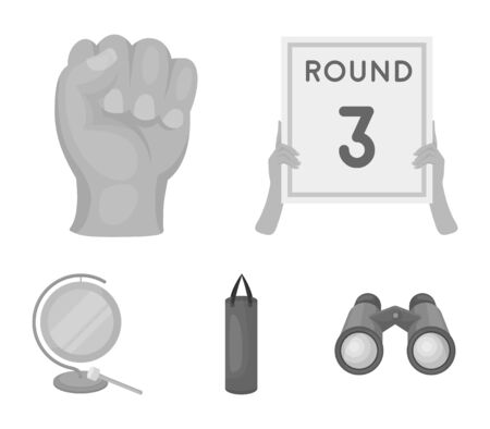 Boxing, sport, round, hand. Boxing set collection icons in monochrome style vector symbol stock illustration web. Illustration