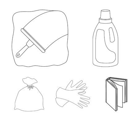 Gel voor het wassen in een roze fles, gele handschoenen voor het reinigen, een borstel voor glas, een zwarte zak voor afval of afval. Schoonmaak set collectie iconen in omtrek stijl vector symbool stock illustratie web.