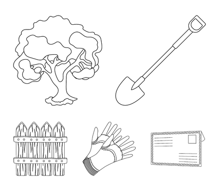 A shovel with a handle, a tree in the garden, gloves for working on a farm, a wooden fence.