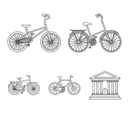 Childrens bicycle and other kinds.Different bicycles set collection icons in outline style vector symbol stock illustration web.