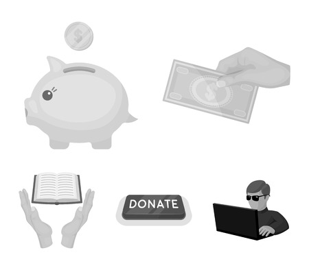 Hand with money for poshestvovaniya, a piggy bank for charity, a button with an inscription, a book for the blind in their hands. Charity and donation set collection icons in monochrome style vector symbol stock illustration web.