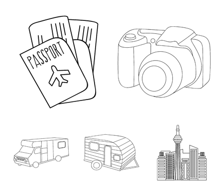 Vacation, photo, camera, passport .Family holiday set collection icons in outline style vector symbol stock illustration web.