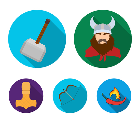 Viking in helmet with horns, mace, bow with arrow, treasure. Vikings set collection icons in flat style vector symbol stock illustration web.