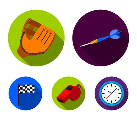 Darts for the game of darts, whistle for the referee, glove for playing baseball, checkbox for the football field. Sport set collection icons in flat style vector symbol stock illustration web.