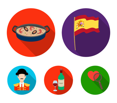 Flag with the coat of arms of Spain, a national dish with rice and tomatoes, a bottle of wine with a glass, a bullfighter, a matador. Spain country set collection icons in flat style vector symbol stock illustration web.