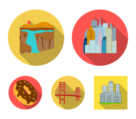 A megacity, a grand canyon, a golden gate bridge,donut with chocolate. The US country set collection icons in flat style vector symbol stock illustration web.