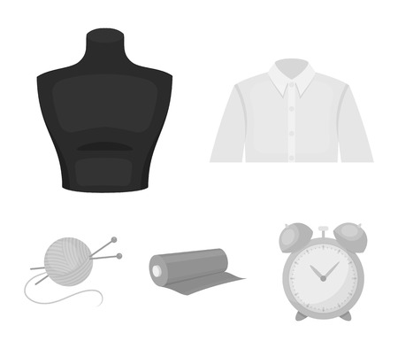 A mans shirt, a mannequin, a roll of fabric, a ball of threads and knitting needles.Atelier set collection icons in monochrome style vector symbol stock illustration web.